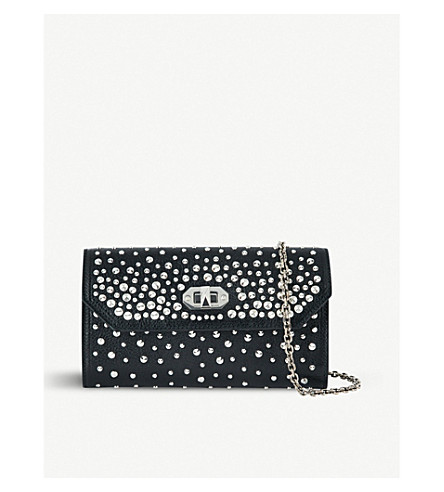 ALEXANDER MCQUEEN Studded leather wallet-on-chain (Black