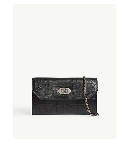 ALEXANDER MCQUEEN Box croc-embossed leather wallet-on-chain (Black