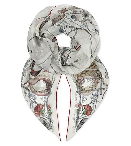 ALEXANDER MCQUEEN Devil trap silk scarf (White