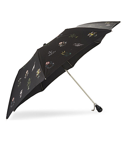 ALEXANDER MCQUEEN Floral skull telescopic umbrella (Black+green