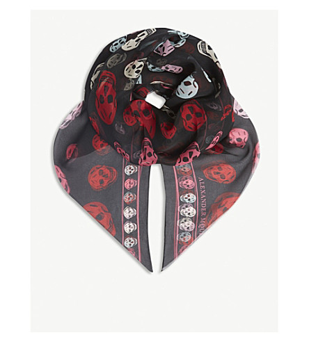 ALEXANDER MCQUEEN Multi-coloured skull print silk scarf (Black+mul
