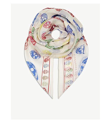 ALEXANDER MCQUEEN Skull silk scarf (Ivory+multi