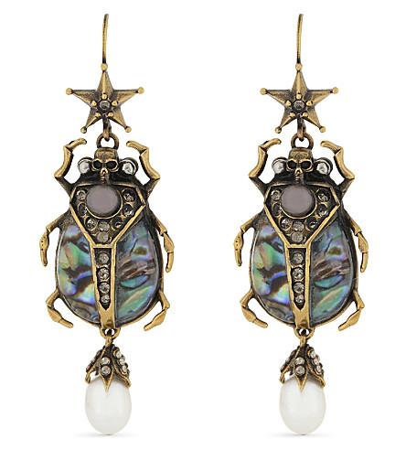 ALEXANDER MCQUEEN Beetle drop earrings (Gold+multi