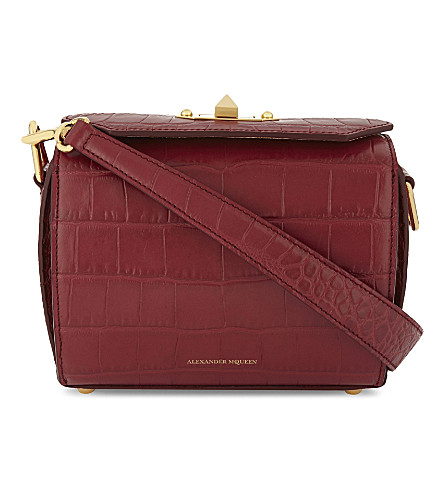 ALEXANDER MCQUEEN Crocodile-embossed leather shoulder bag (Lacquer+red
