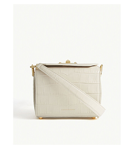 ALEXANDER MCQUEEN Croc-embossed leather Box Bag 19 (White+bone