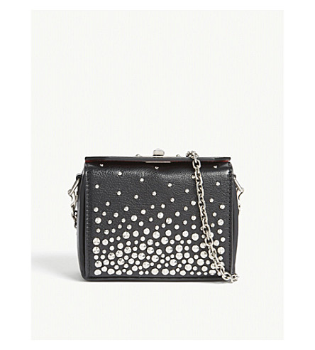 ALEXANDER MCQUEEN Studded nano leather box cross-body bag (Black