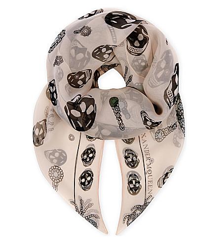 ALEXANDER MCQUEEN Spider skull silk scarf (Rose+black