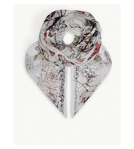 ALEXANDER MCQUEEN Crawling Rose silk scarf (Ivory+pink