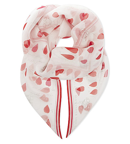 ALEXANDER MCQUEEN Skull and petal silk-chiffon scarf (Ivory+red