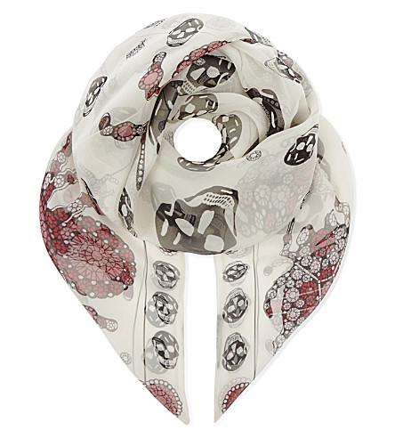 ALEXANDER MCQUEEN Skull and jewelled bug-print silk scarf (Ivory