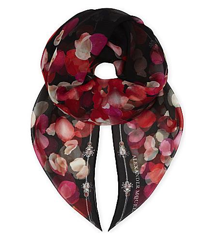 ALEXANDER MCQUEEN Petal silk scarf (Black/pink