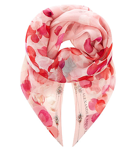 ALEXANDER MCQUEEN Petal-print silk scarf (Pink/pink