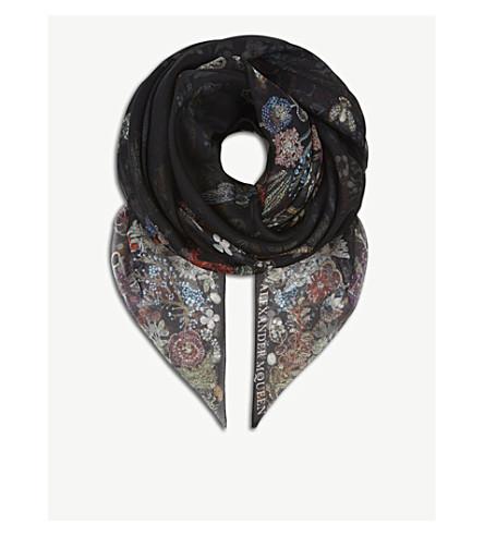 ALEXANDER MCQUEEN Jewel Garden silk scarf (Black