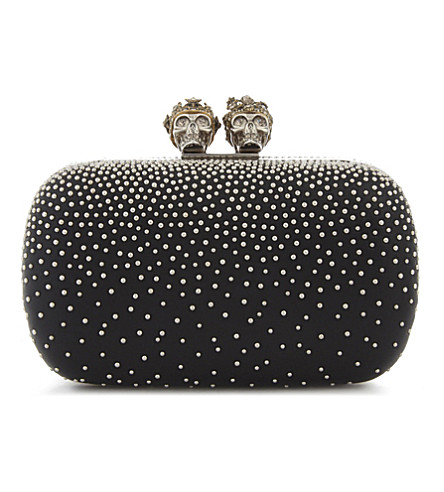 ALEXANDER MCQUEEN Classic skull and stud leather box clutch (Silver