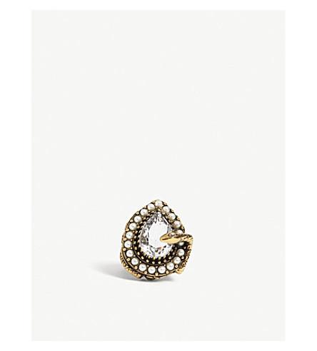 ALEXANDER MCQUEEN Snake drop crystal ring (Gold