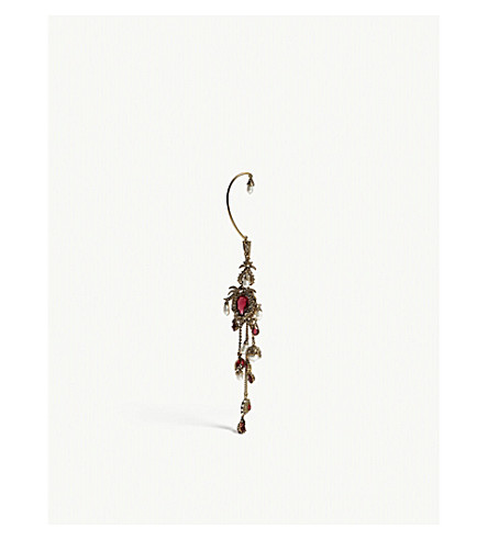 ALEXANDER MCQUEEN Hoop ear cuff (Gold/red