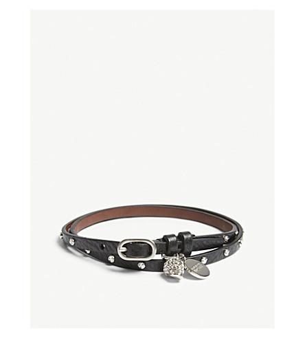 ALEXANDER MCQUEEN Studded leather double wrap bracelet (Black
