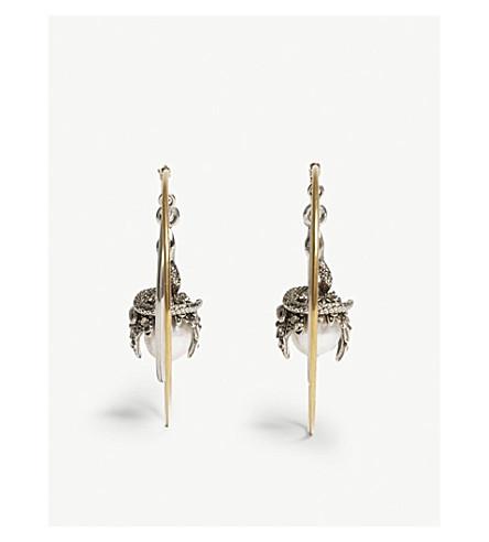 ALEXANDER MCQUEEN Pearl stone hoop earrings (Silver/gold