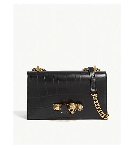 ALEXANDER MCQUEEN Knuckleduster crocodile-embossed leather satchel (Black/gold