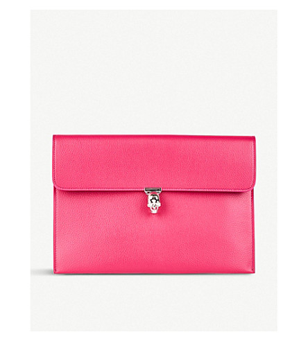 ALEXANDER MCQUEEN Skull-embellished metallic grained-leather clutch Deep orchid Pick A Best Cheap Price Authentic Online jES7ZtNw