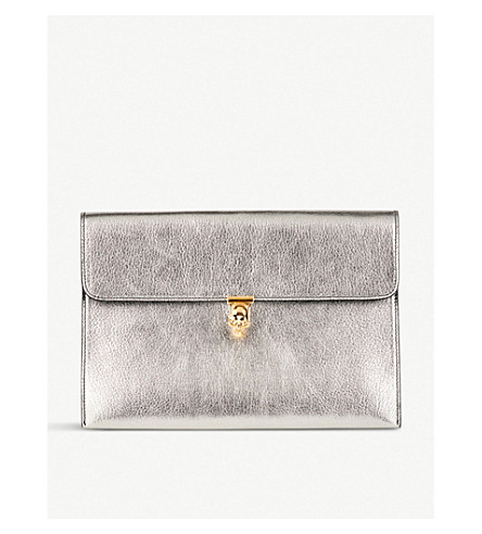 Clearance Best Store To Get Cheap Sale Clearance Store ALEXANDER MCQUEEN Skull-embellished metallic grained-leather clutch Gunmetal Supply Online Explore Outlet Get To Buy vMvdML