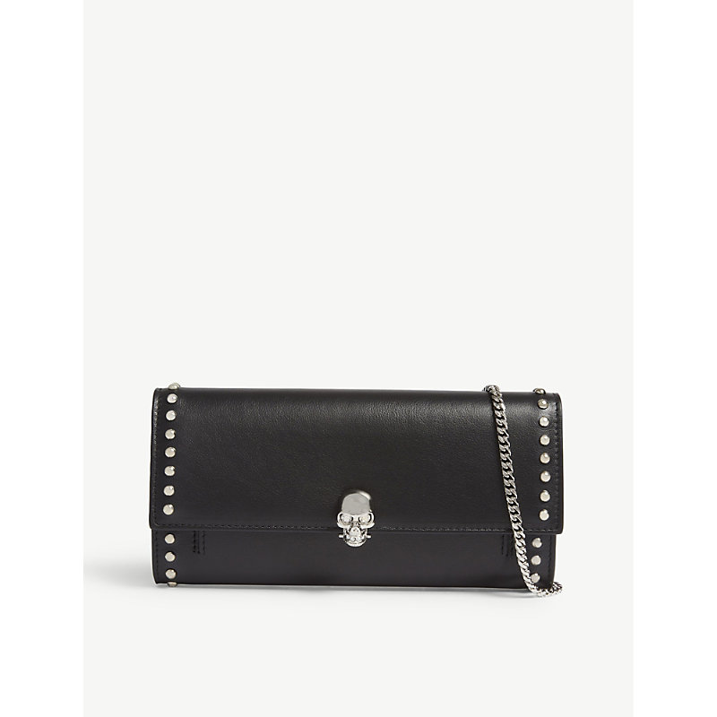 Studded leather wallet with skull detail