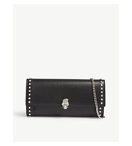 ALEXANDER MCQUEEN Studded leather wallet with skull detail (Black