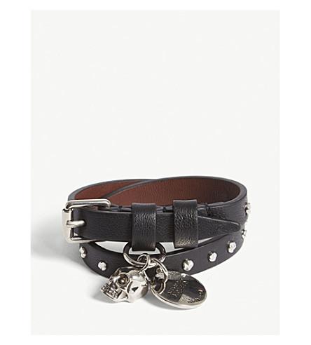 ALEXANDER MCQUEEN Studded double-wrap leather bracelet (Black