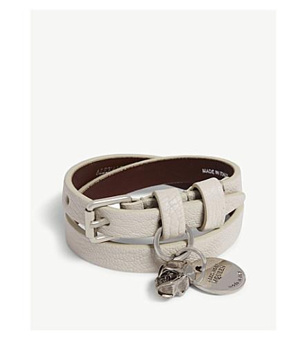 ALEXANDER MCQUEEN 双包皮革手链 (白色