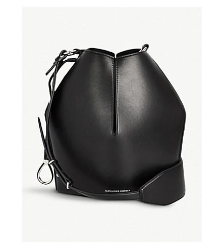 ALEXANDER MCQUEEN桶袋皮包 (黑色