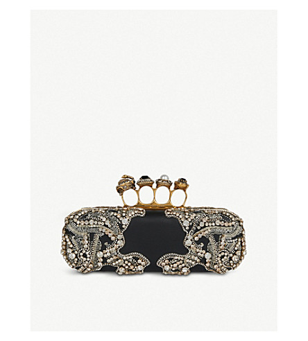 ALEXANDER MCQUEEN Swarovski 晶体和缎布关节手拿包 (黑色