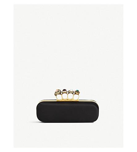 ALEXANDER MCQUEEN Four Ring embellished satin clutch bag (Black