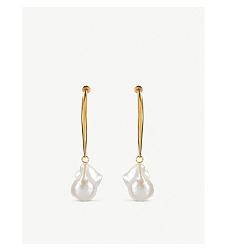ALEXANDER MCQUEEN Stick brass and pearl earrings (Gold