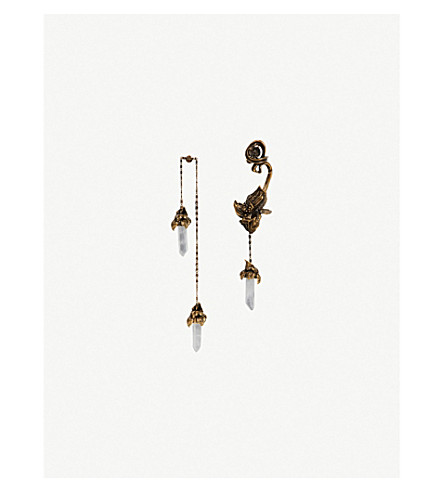 ALEXANDER MCQUEEN Iris Swarovski crystal and gold-toned earrings (Gold