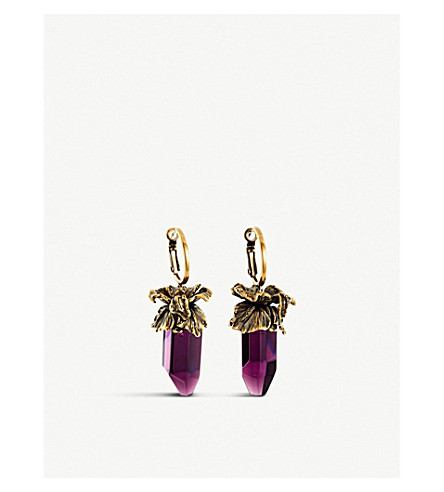 ALEXANDER MCQUEEN Iris crystal drop earrings (Purple+gold