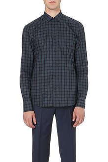 Z ZEGNA Checked slim-fit single-cuff shirt
