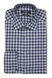 Z ZEGNA Checked slim-fit single-cuff shirt