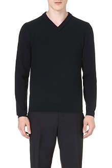 Z ZEGNA Contrast-trim bicolour wool jumper