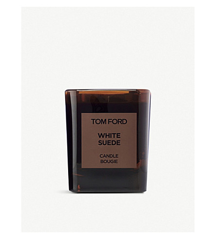 TOM FORD White suede scented candle and cover
