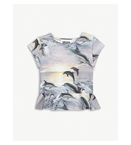 MOLO Dolphin-print stretch-cotton top 3-24 months (Blue