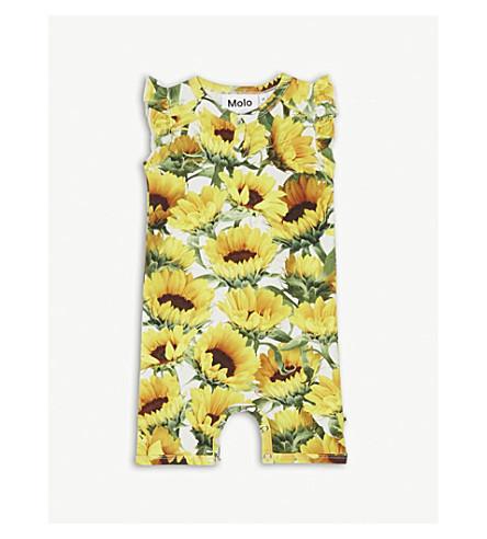 MOLO Faris sunflower print cotton-blend playsuit 3-18 months (Yellow