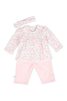 EMILE ET ROSE Floral pleat top, trousers and headband set 3-24 months