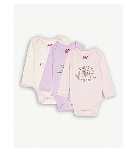 JUICY COUTURE Printed cotton-blend bodysuits pack of three 3-12 months (Multi