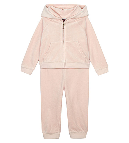 JUICY COUTURE Crystal velour cotton tracksuit 3-24 months (Powder+pink