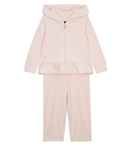 JUICY COUTURE Ruffle velour tracksuit set 3-24 months (Powder+pink