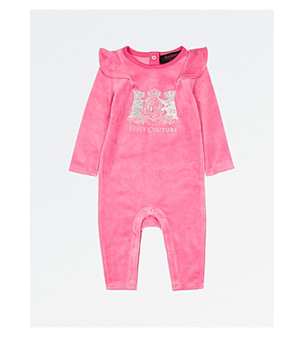 JUICY COUTURE Logo velour sleepsuit 3-18 months (Highlighter
