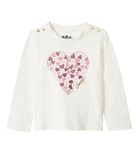 JUICY COUTURE Glitter heart cotton long-sleeved top 6-24 months (Vanilla