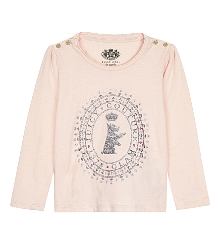 JUICY COUTURE Glitter Scottie dog print long-sleeved cotton top 3-24 months (Powder+pink