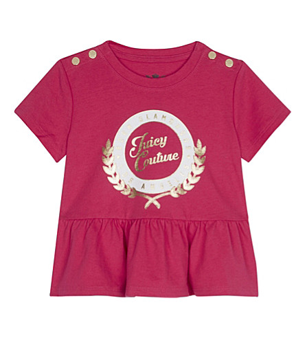 JUICY COUTURE Collegiate laurel cotton peplum T-shirt 3-24 months (Flamingo+pink