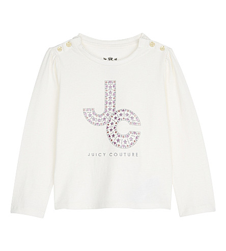 JUICY COUTURE Glitter JC cotton long-sleeved top 3-24 months (Vanilla